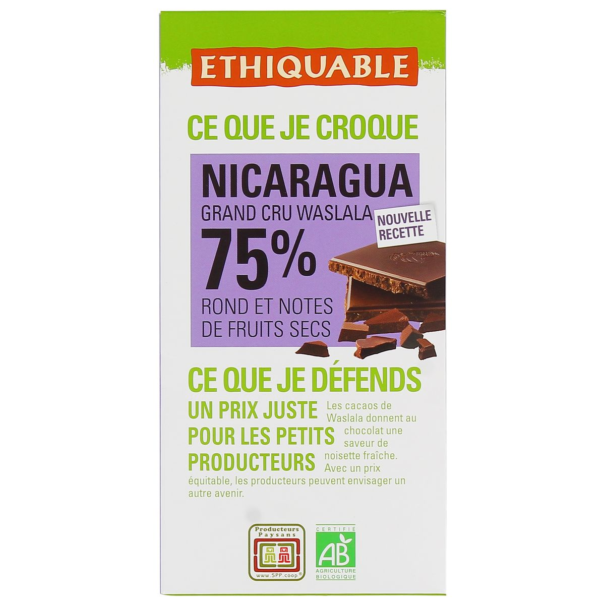 ETHICABLE Choc.nr 75%cacao nica.eth.100g